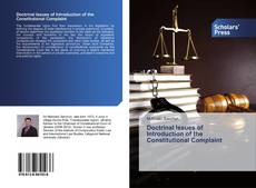 Bookcover of Doctrinal Issues of Introduction of the Constitutional Complaint