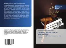"""Capa do livro de Disability and the """"art"""" of interpretation"""