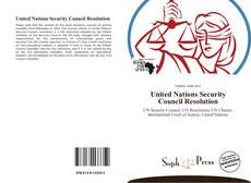 Bookcover of United Nations Security Council Resolution