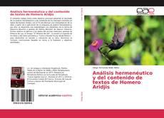 Bookcover of Análisis hermenéutico y del contenido de textos de Homero Aridjis