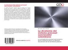 La dicotomía del sistema procesal sancionador colombiano kitap kapağı