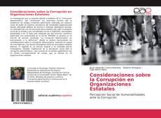 Portada del libro de Consideraciones sobre la Corrupción en Organizaciones Estatales