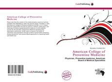 Bookcover of American College of Preventive Medicine