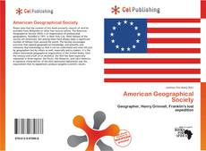 Bookcover of American Geographical Society