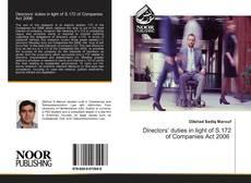 Bookcover of Directors' duties in light of S.172 of Companies Act 2006