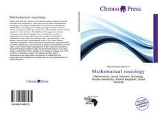 Bookcover of Mathematical sociology