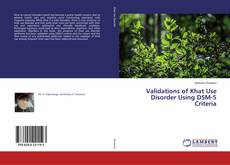 Couverture de Validations of Khat Use Disorder Using DSM-5 Criteria