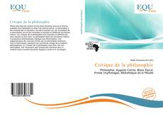 Bookcover of Critique de la philosophie