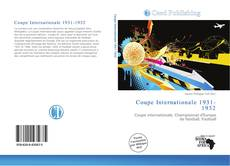 Bookcover of Coupe Internationale 1931-1932
