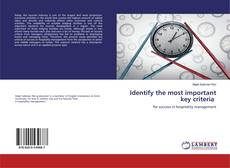 Bookcover of Identify the most important key criteria