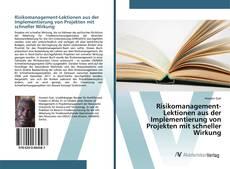 Обложка Risikomanagement-Lektionen aus der Implementierung von Projekten mit schneller Wirkung