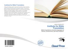 Bookcover of Institute for Bible Translation