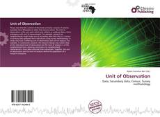 Bookcover of Unit of Observation