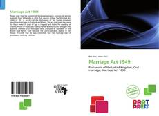 Bookcover of Marriage Act 1949
