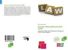 Buchcover von Census (Amendment) Act 2000