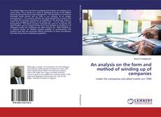 Buchcover von An analysis on the form and method of winding up of companies