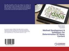 Buchcover von Method Development & Validation For Determination Of Water Content