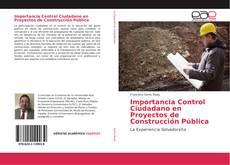 Buchcover von Importancia Control Ciudadano en Proyectos de Construcción Pública