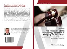 Capa do livro de Two Pieces of Social Psychology Research in Hungary in 2010-2011