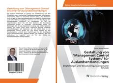 """Buchcover von Gestaltung von """"Management Control Systems"""" für Auslandsentsendungen"""