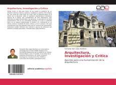 Portada del libro de Arquitectura, Investigación y Crítica