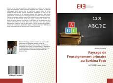 Portada del libro de Paysage de l'enseignement primaire au Burkina Faso