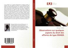 Copertina di Observations sur quelques aspects du droit des affaires de type OHADA