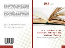 Bookcover of De la contribution des institutions nationales des droits de l'homme