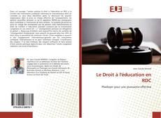 Le Droit à l'éducation en RDC kitap kapağı