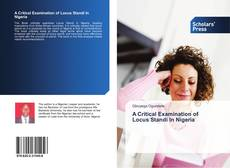 Couverture de A Critical Examination of Locus Standi In Nigeria