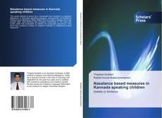 Bookcover of Nasalance based measures in Kannada speaking children
