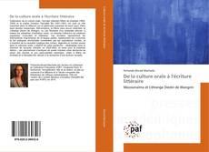Buchcover von De la culture orale à l'écriture littéraire