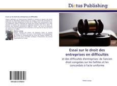 Bookcover of Essai sur le droit des entreprises en difficultés