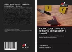 Buchcover von NUOVA LEGGE 12.403/11 E IL PRINCIPIO DI INNOCENZA E DIGNITÀ: