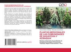 PLANTAS MEDICINALES DE LAS COMUNIDADES DE AHUAYCHA Y ACRAQUIA的封面