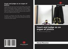 Buchcover von Court and judge as an organ of justice