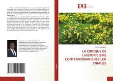 Buchcover von LA CRITIQUE DE L'HISTORICISME CONTEMPORAIN CHEZ LEO STRAUSS