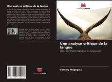 Couverture de Une analyse critique de la langue