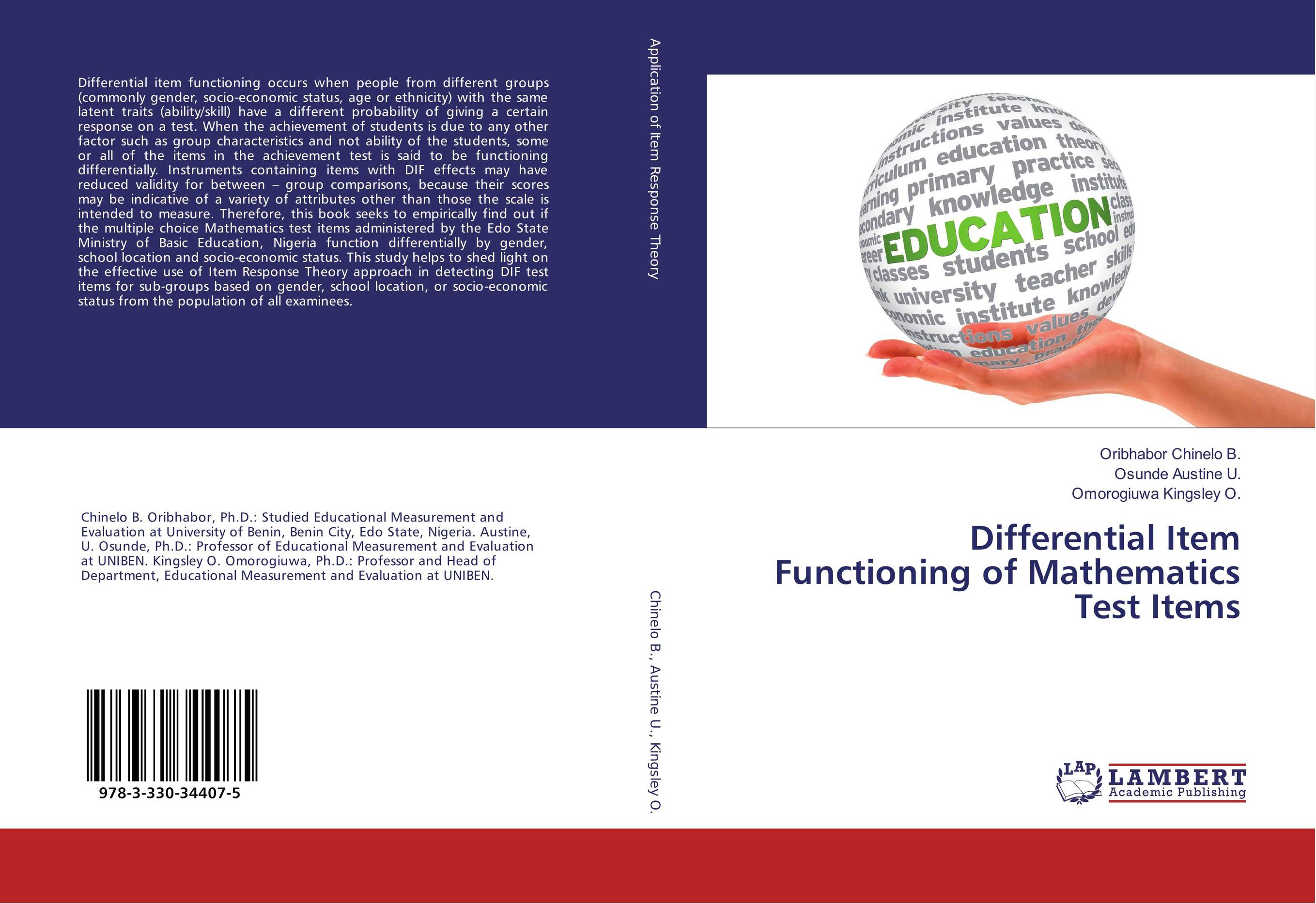 9783330344075 Differential Item Functioning of Mathematics Test Items Oribhabo