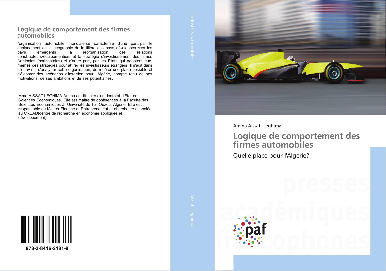 9783841621818 Logique de comportement des firmes automobiles - Amina Aissat -Leg